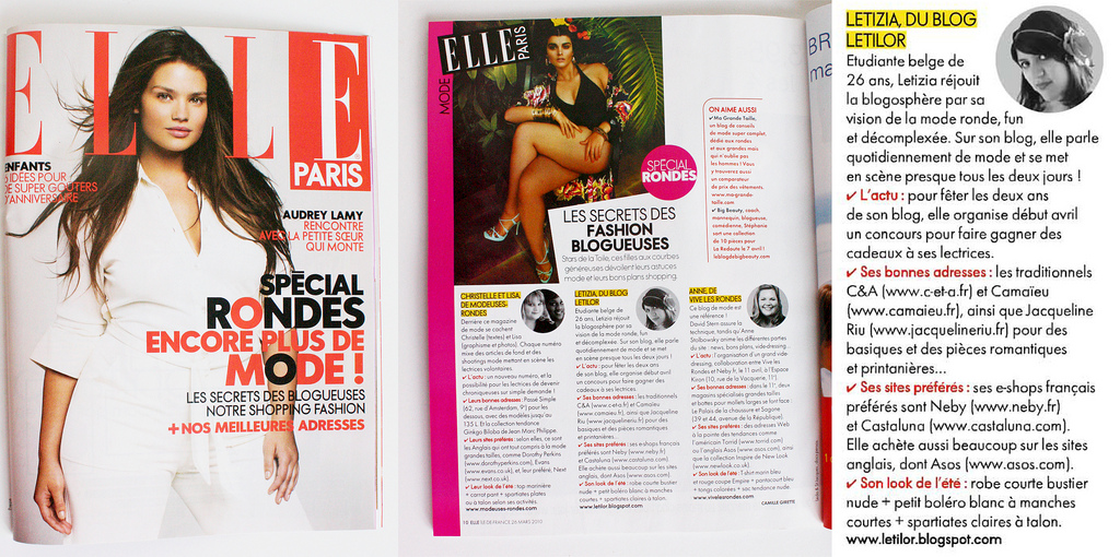 Letilor publication presse dans le Elle France Spécial rondes avril 2010
