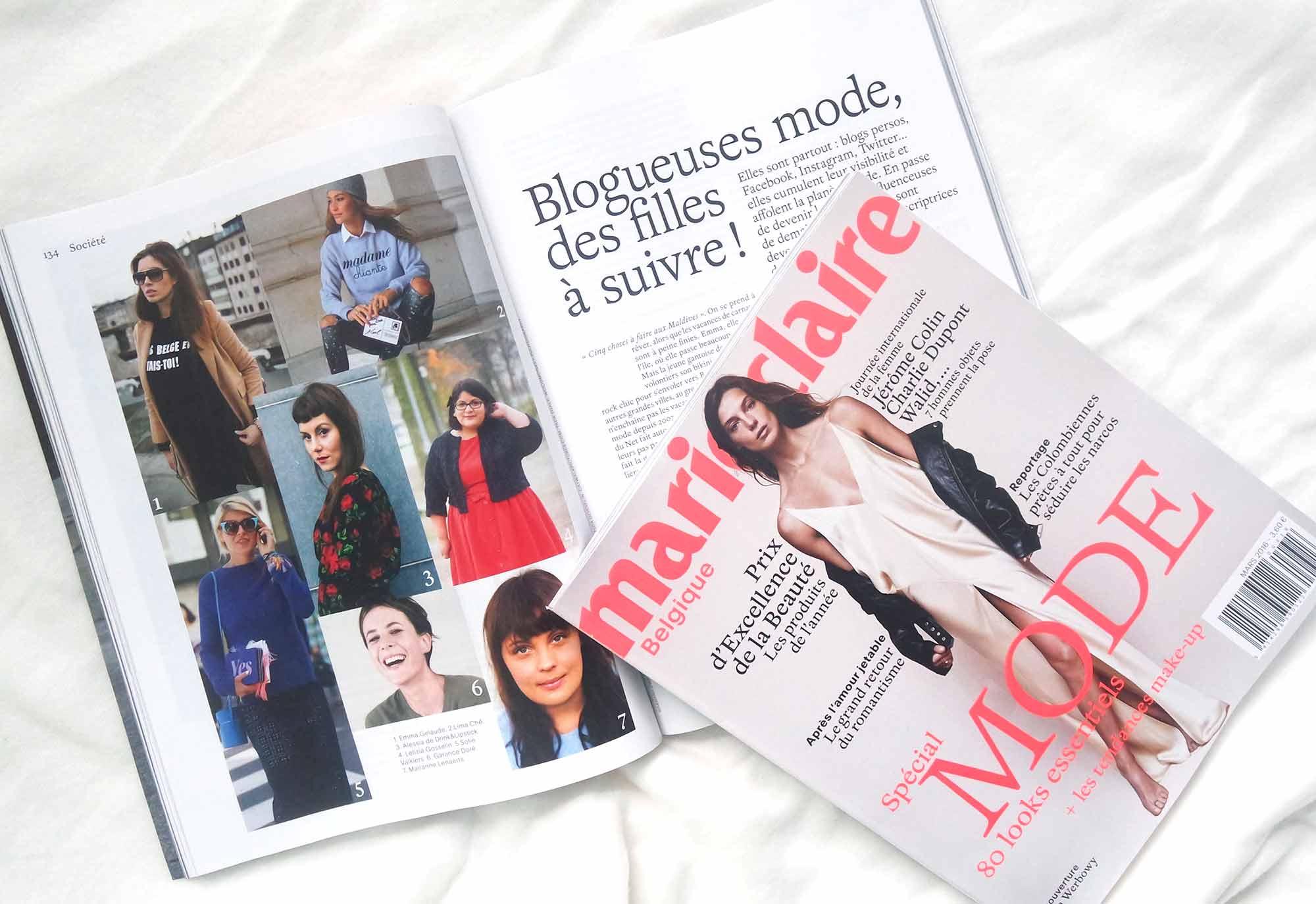 Letilor dans Marie Claire Belgique blogueuses mode à suivre
