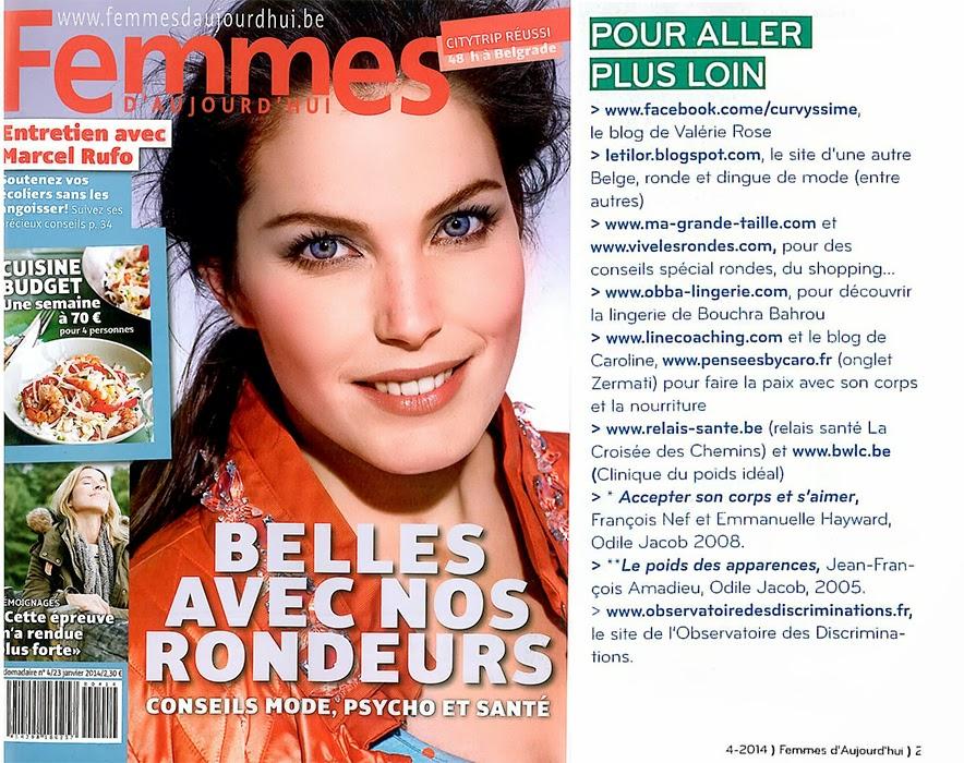 Le blog de Letilor cité dans le Femmes d'Aujourd'hui du 23 janvier 2014