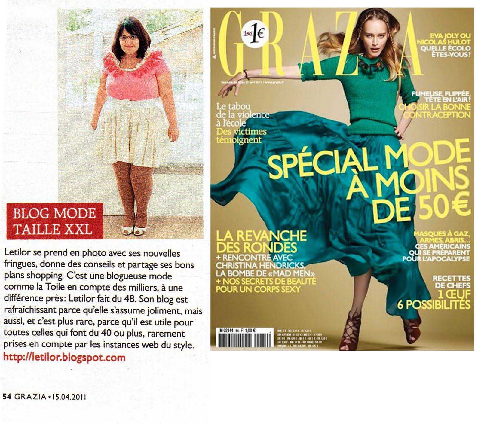 Le blog de Letilor dans le Grazia France du 15 avril 2011