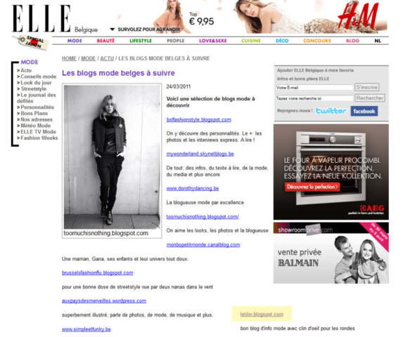 Letilor Elle Belgique blogs à suivre