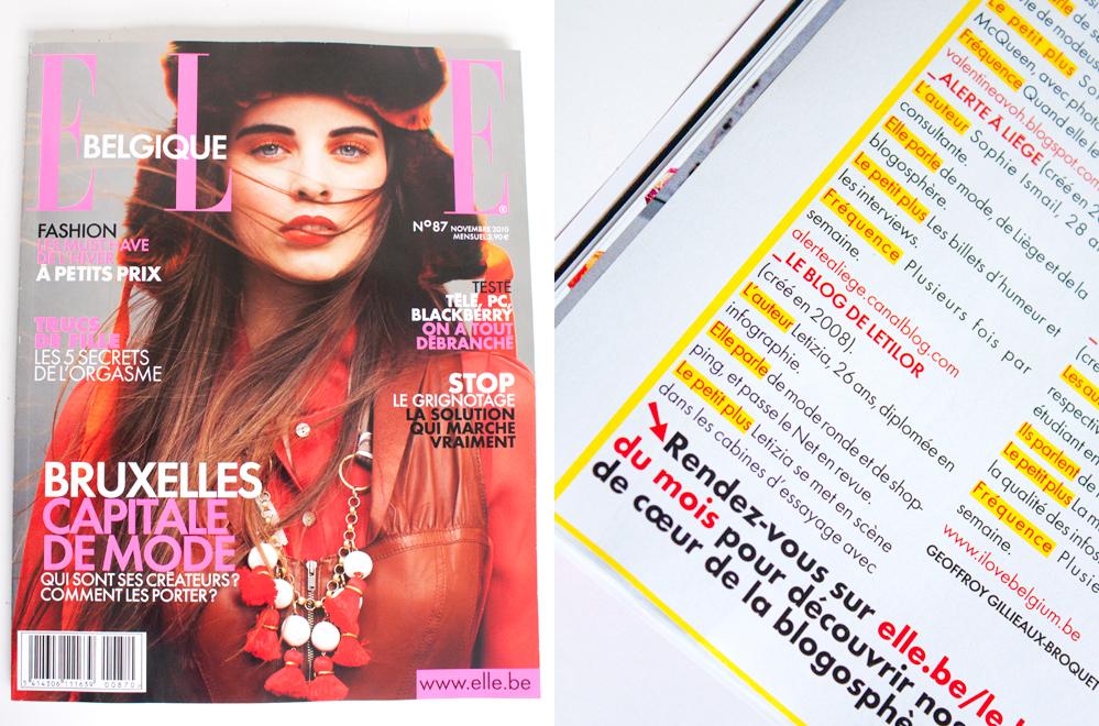 Le blog de Letilor cité dans le Elle Belgique édition novembre 2010