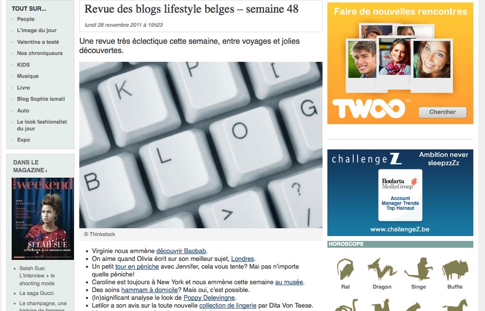 Letilor le vif weekend revue des blogs lifestyle belges