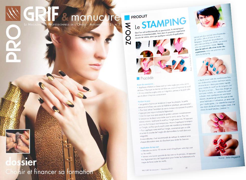 Le stamping du blog de Letilor mis en avant dans le magazine ProGrif & manucure