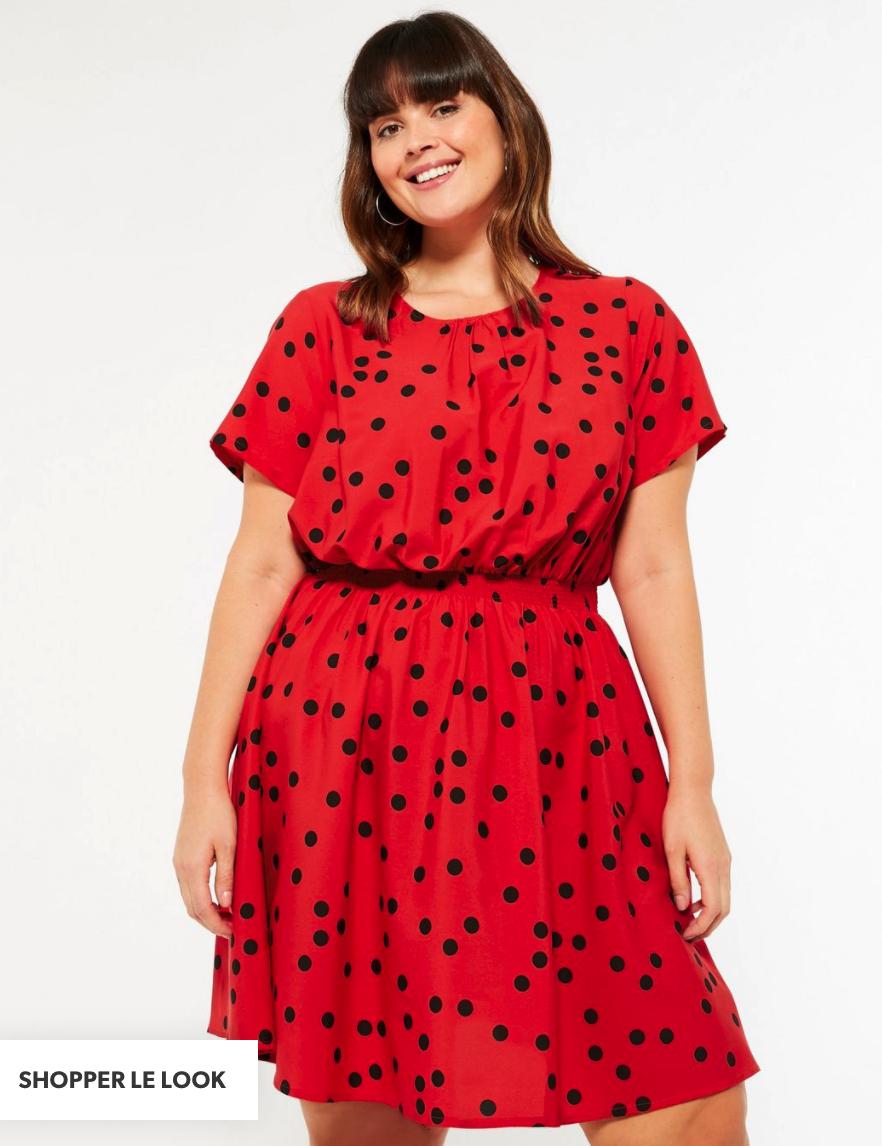 robe grande taille chic en rouge à pois