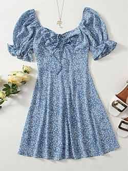 Robe shein grande taille, bleue à fleurs